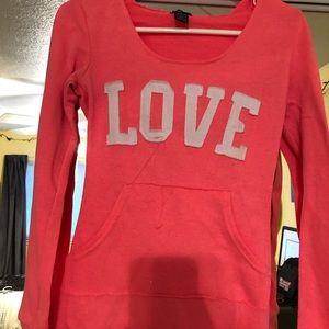 neon pink love hoodie